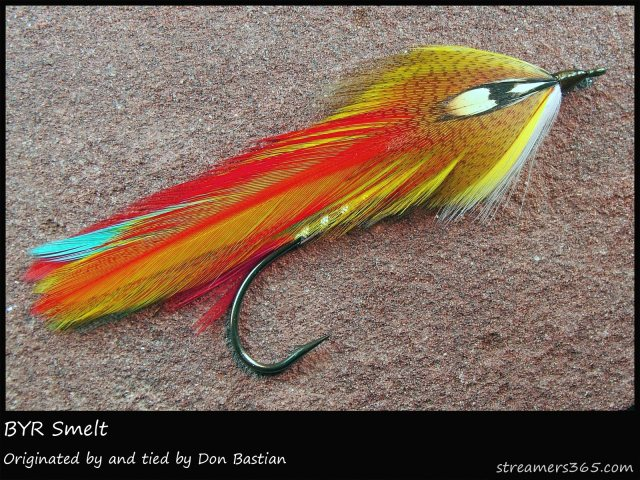 This is the BYR Smelt, a streme pattern employing the use of primary colors. Photo by Darren MacEachern, Streamers365.com.