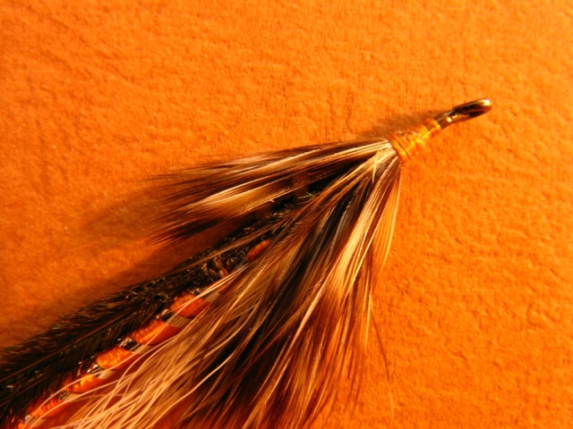 prior to setting the wing,nbother bunch of hackle fibers is placed on top of the hook shank at the head.