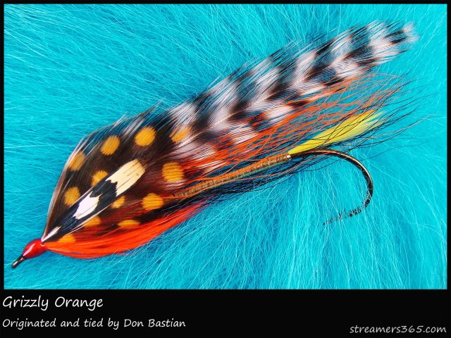 The HGrizzly Orange streamer. Photo by Darren MacEachern,posted on Streamers365.com.