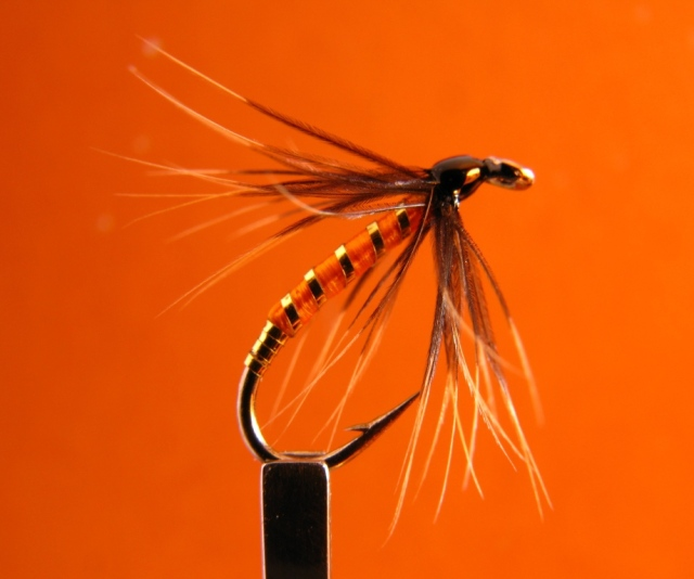 Orange Fish Hawk -soft hackle wet fly, the hook is a No. 12 standard wet fly hook.