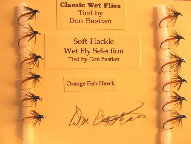 One dozen Orange Fish Hawk soft-hackle wet flies.