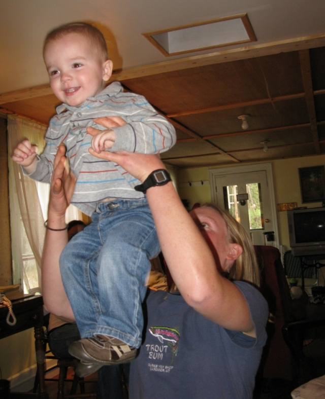 Benner eventually chose to be tossed into the air by his Aunt Emily.