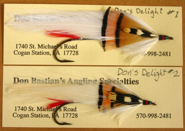 Two card-mounted Don's Delight streamers. Tied and photographed by Don Bastian.