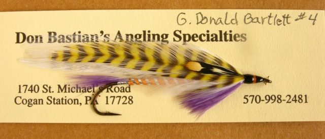G. Donald Bartlett streamer, carded, and ready for packaging. Tied and photographed by Don Bastian.