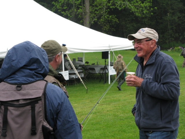 Pennsylbvania fly fishing celebrity and author Joe Humphreys shares a laugh with some contestants.