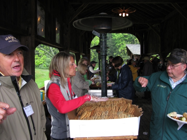 Breakfast and lunch are served buffet style on the covered bridge.