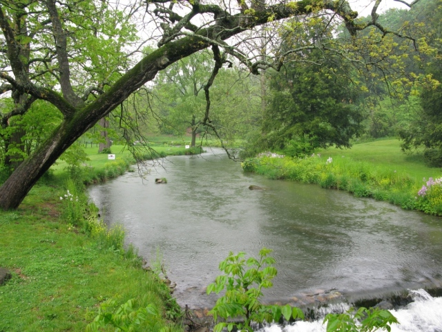 View of Spruce Creek looking upstream of the covered bridge.