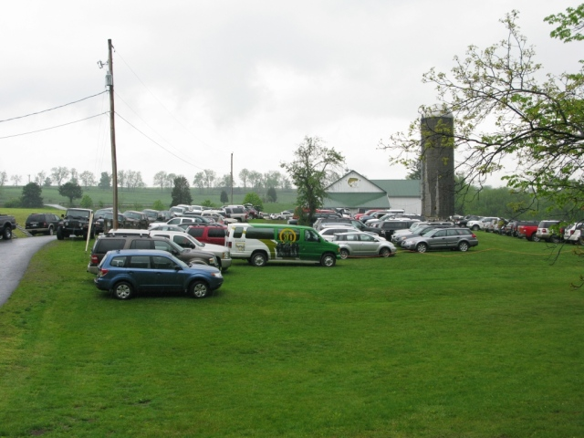 Parking area. There are usually twenty or more four-person teams, plus sponsors