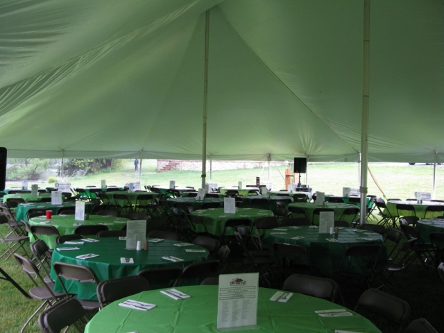 The main tent - table settings for dinner.