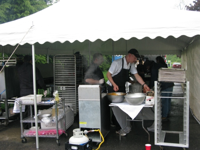 Chef's from the caterer - Otto's Brew Pub in State College - tending the grills.