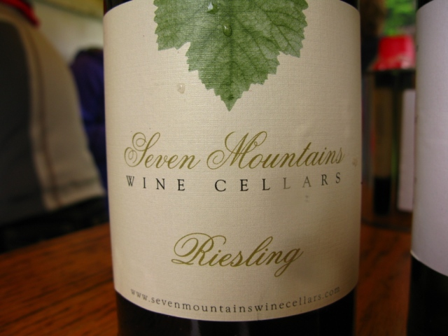 Seven Mountains Winery provided a very nice Riesling...