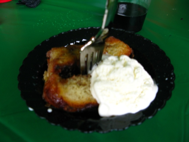 Apologies fopr the less-than-sharp image - dessert was the legendary sticky buns from the State College Diner, and vanilla ice cream.