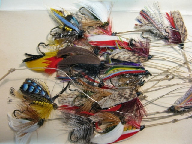 A collection of classic barbless wet flies, probably circa the teens or the 1920's.