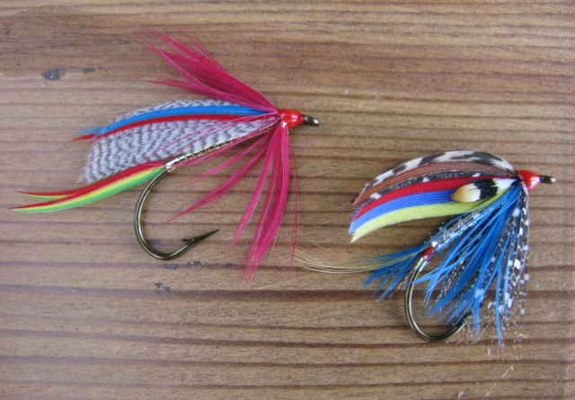 Golden  Doctor and Silver Doctor - size #2 Mustad wet fly hooks, vintage 3906.