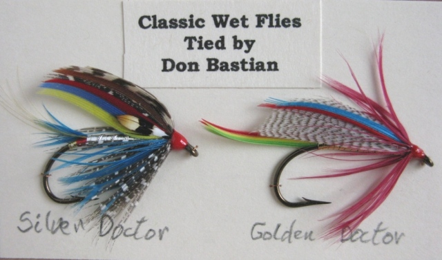 Silver Doctor and Golden Doctor - Mustad #2 vintage 3906 wet fly hooks. Tied and photographed by Don Bastian.