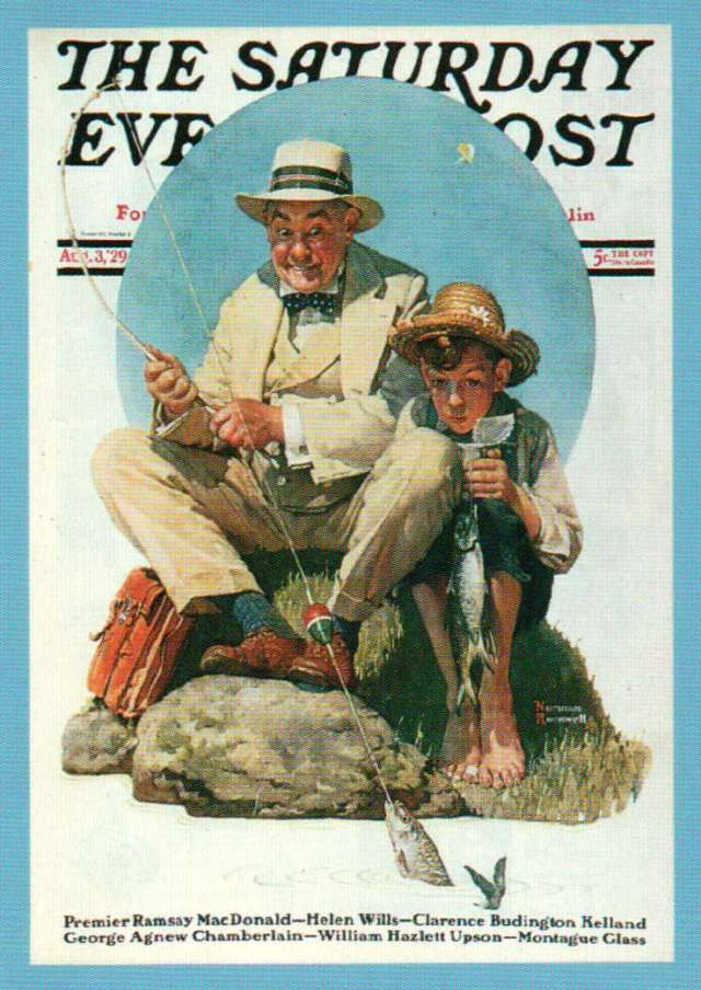 Catching the Big One - painting by Norman Rockwell. This was originally titled Fishing Lesson. Al Prindle,the postmaster in Shushan, New York, for whom Lew Oatman's Sunshan Postmaster fly was named, was the subject for the painting.