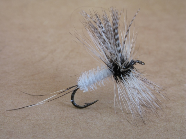 An authentic original Dette Coffin fly, tied by the Dette's Fly Shop, Roscoe, New York. It is not known whether Mary Dette tied this fly or not.