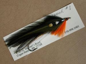 Lakewood - Carrie Stevens streamer pattern, named for Lakwood Camps. Only a few of her 100-plus original patterns sported an orange head with a black band.