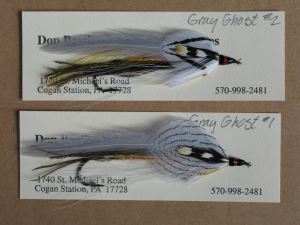 A pair of Gray Ghosts. A Carrie G. Stevens streamer pattern, first found listed on one of her invoices in 1934. No argument here; the Gray Ghost is the most famous streamer pattern ever created, and not likely to ever be surpassed in that distinction.