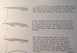 Copy of Austin Hogan's notes on the construction of Carrie Stevens streamers.