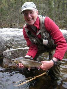 "My brother, Larry, with a 17"" Magalloway River brook trout caught on the RSP."