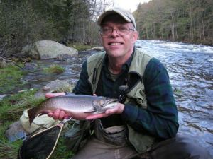 "Don Baastiaan with a 17-1/2"" Magalloway Riveer Brook trout caught on the RSP."
