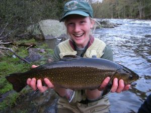 "Emily Bastian with the biggest Magalloway River brook trout of our trip (of course!) - a 20-1/2"" female, caught on the RSP."