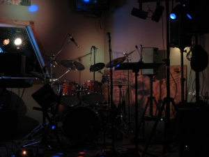 My vintage 1975 English-made Premier Powerhouse 2500 drum set...prior to the start of a local gig.